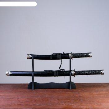 Катаны сувенирные 2в1, на подставке, кожа, черные ножны, под змею