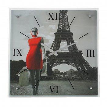Часы настенные, серия: люди, девушка в красном платье в париже, 50х50 см