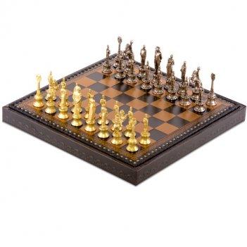 Шахматы наполеон 35х35 от italfama (дерево, кожа, бронза, олово)