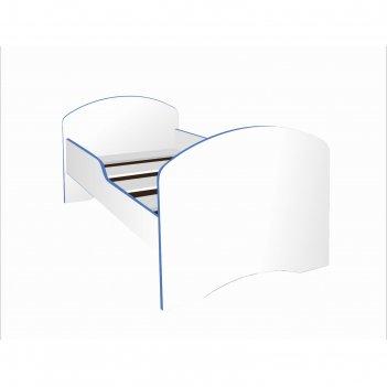 Кровать детская, спальное место 1600 x 700 мм, цвет белый / кромка синяя