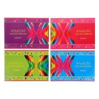 Альбом для рисования а4, 32 листа на скрепке цветные ромбы 4 вида микс