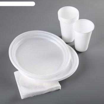 Набор для пикника «красавчик», 6 персон, цвет белый