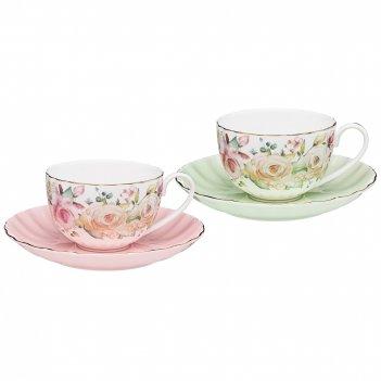 Чайный набор lefard  времена года 280 мл 4 пр. на 2 пер. розовый-мятный (к