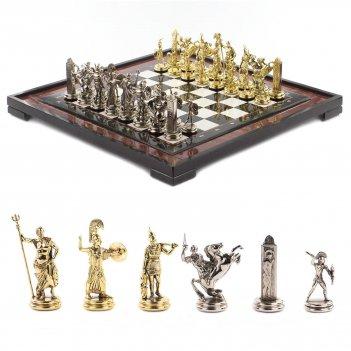 Шахматы греческая мифология доска 540х540 мм мрамор лемезит металл