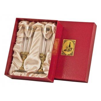 Набор из 2-х бокалов для шампанского богемия, отделка флорис арт. нбшб-02ф