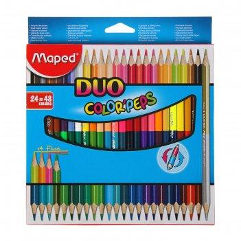 Карандаши трёхгранные двухсторонние 48 цветов (24 штуки) color peps, европ