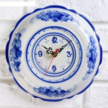 Часы настенные ромашка, гжель, фарфор, 2с 4190305