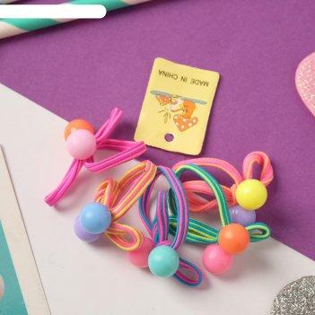 Резинка для волос магическая (набор 5 шт) бант с шариками