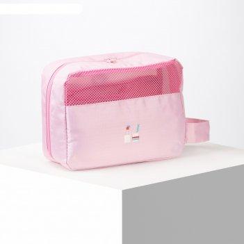 Косметичка дорожная, отдел на молнии, наружный карман, с крючком, цвет роз