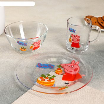 Набор посуды свинка пеппа. морковка, 3 предмета: кружка 250 мл, салатник 2