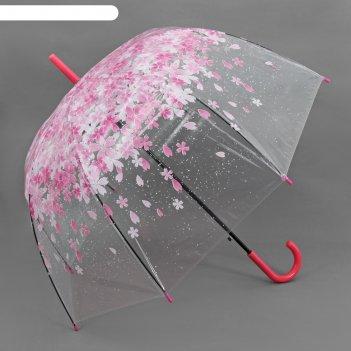 Зонт-трость, полуавтомат, r=60см, цвет розовый