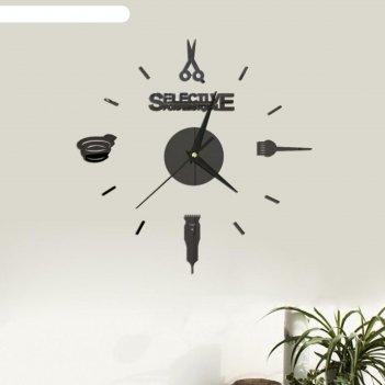 Часы-наклейка парикмахер, d=45 см,  сек. стрелка 12 см, чёрные