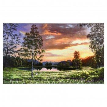 Картина-холст на подрамнике летний закат 60х100 см