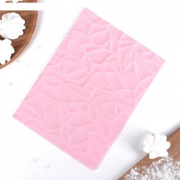 Коврик рельефный 25х19 см текстура, цвет розовый