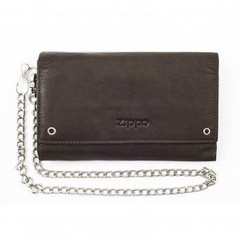 Бумажник байкера zippo, цвет мокко, натуральная кожа, 17x3,5x11 см