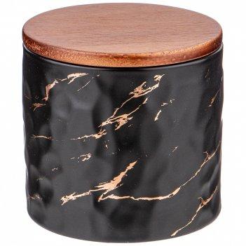 Банка для сыпучих продуктов коллекция золотой мрамор цвет:black 11,5*11 см