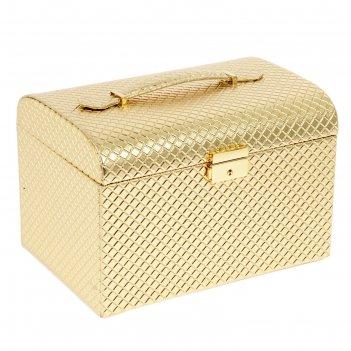 Шкатулка кожзам для украшений золото 18х25х18,5 см