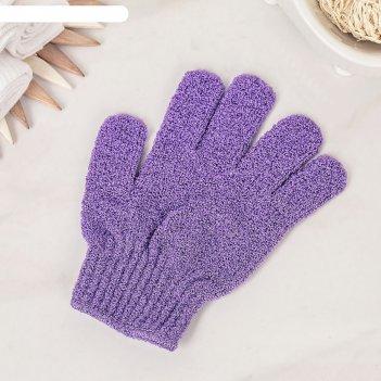 Мочалка-перчатка массажная однотонная, цвет микс