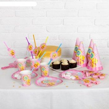 Набор для праздника на 6 персон мишка и сладости цвет розовый