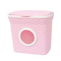 Контейнер для стирального порошка с иллюминатором 10 л ротанг, цвет розовы
