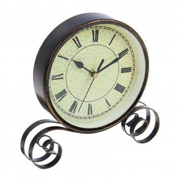 Часы настольные, на витой подставке, циферблат с римскими цифрами, чёрные,