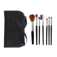 Набор для макияжа 7пр футляр на завязках с паетками черный