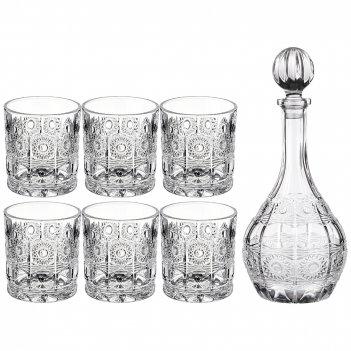 Набор для виски muza crystal 7пр.: штоф + 6 стаканов 950/300 мл (кор=4наб.