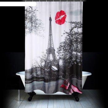 Штора для ванной 180х200 см, поцелуй