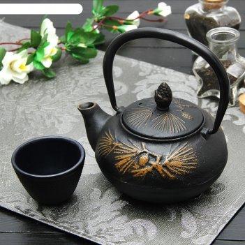 Чайник с ситом 500 мл циру. золото, цвет черный