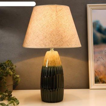 Лампа настольная 16002/1 e14 40вт бежево-зеленый 30х30х49 см