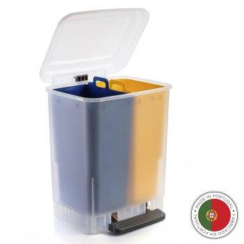 Мусорный бак с педалью eco 20л, желтый-синий