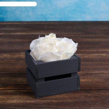Ящик-кашпо двушка, сердний, чёрное, 11х12х9см