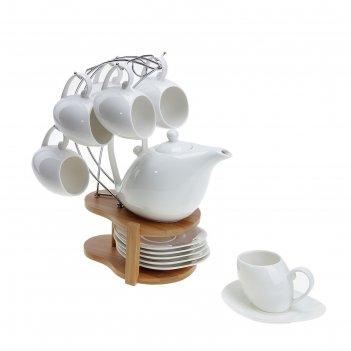Сервиз чайный эстет. колокольчик, 13 предметов на подставке: 6 чашек 150 м