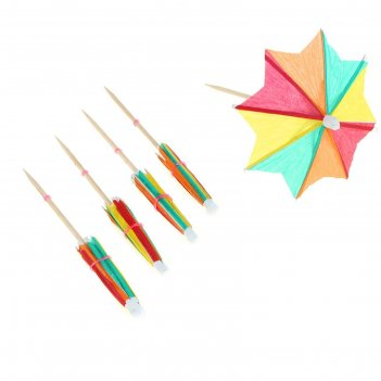 Пика для канапе зонтик, острый угол, набор 12 шт