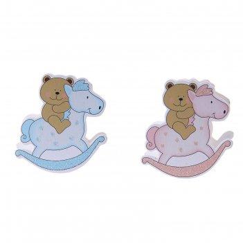 Прищепка детская лошадка и медведь, цвета микс