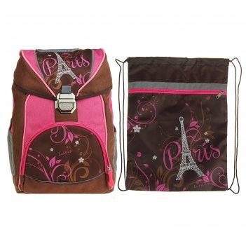 Ранец на замке с кулиской luris райт 38x28x17 см для девочки + мешок для о