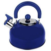 Чайник из нержавеющей стали 2 л со свистком, голубой