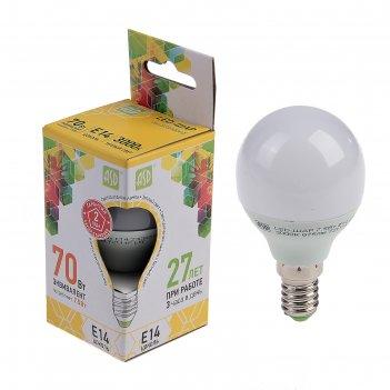 Лампа светодиодная asd led-шар-standard, е14, 7.5 вт, 230 в, 3000 к, 675 л