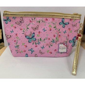 Lukky косметичка розовая с принтом lukky и блёстками,24х7см,пакет,бирка