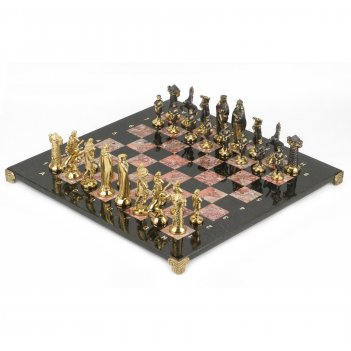Шахматы средневековье бронза креноид змеевик 400х400 мм