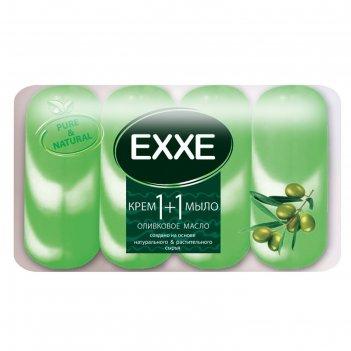 Крем+мыло exxe 1+1 оливковое масло зеленое полосатое, 4 шт*90 г