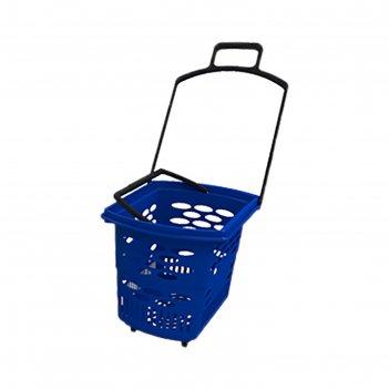 Корзина-тележка пластиковая 38л, с 2 пластиковыми ручками, цвет синий