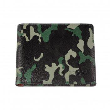 Портмоне zippo, зелёно-чёрный камуфляж, натуральная кожа, 10,8x1,8x8,6 см