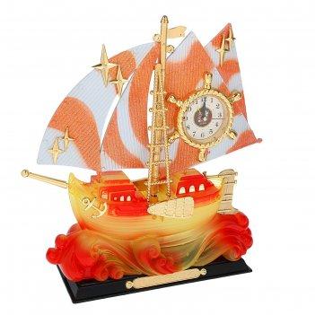 Часы-светильник с будильником кораблик на волнах, от 220v