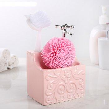 Дозатор для жидкого мыла с подставкой для губки и щетки камелия, цвет розо