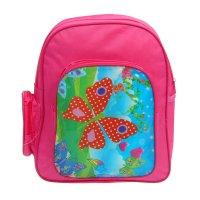 Рюкзак дет 67381, бабочки, 25*9*30см, 1 отд, 3 нар кармана, малиновый