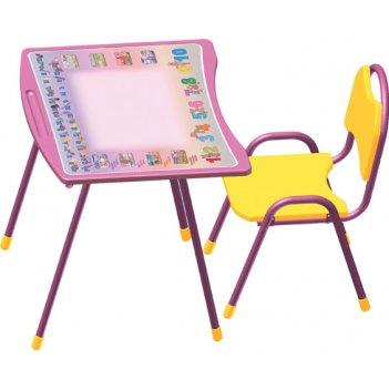 Набор детской мебели из труб (складной) розовый буквы-цифры