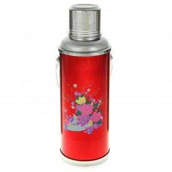 Термос с ручкой букет полевых цветов, 1.2 л, 1 кружка, красный