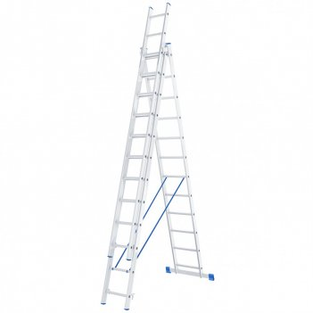 Лестница, 3 х 12 ступеней, алюминиевая, трехсекционная сибртех pоссия