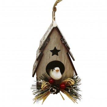 Набор для творчества - создай елочное украшение  птичка в скворчнике с вет